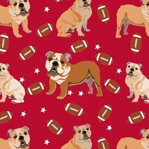 bulldogs fabric - football fabric, dogs and footballs fabric, sports fabric, mascot fabric, bulldog design - georgia red