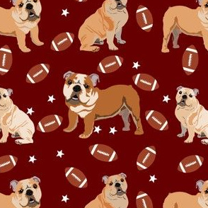 bulldogs fabric - football fabric, dogs and footballs fabric, sports fabric, mascot fabric, bulldog design - mississippi state