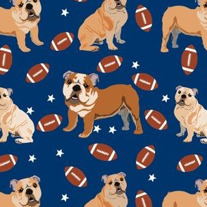bulldogs fabric - football fabric, dogs and footballs fabric, sports fabric, mascot fabric, bulldog design - yale blue