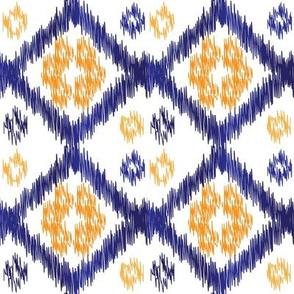 Orange & blue Buton Ikat