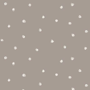 Squiggle dots Bone dots on Dark Taupe