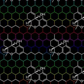 THC Molecule - Rainbow Hexagons on Black