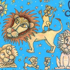 Leo the lion zodiac astrology sun sign, large scale, blue yellow orange