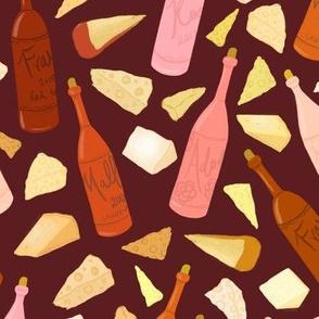 Wine and cheese (dark background)