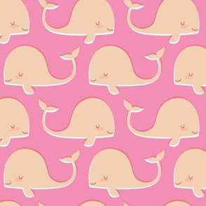 Retro Whales on Pink