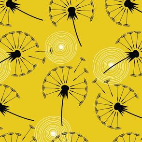 MCM Dandelions I Black Gold