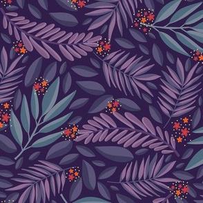 Purple Blues Nature Leaves