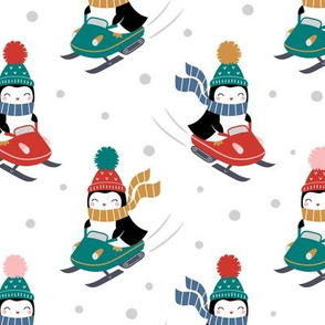 penguins on snowmobile - white, large
