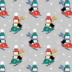 penguins on snowmobile - light grey, small