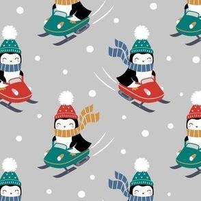 penguins on snowmobile - light grey, large