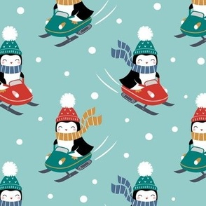 penguins on snowmobile - light blue, large