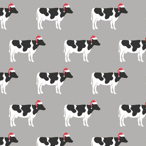 Christmas Cows - Santa hats farm - grey - LAD19