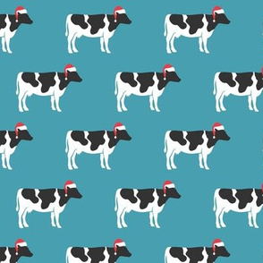 Christmas Cows - Santa hats farm - stone - LAD19