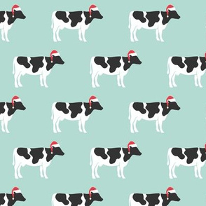 Christmas Cows - Santa hats farm - mint - LAD19