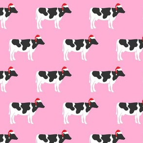Christmas Cows - Santa hats farm - pink - LAD19