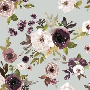 Dusty Plum Florals // Pumice