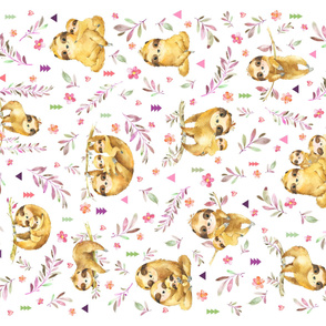 "54""x36"" Panel – Sloth Baby Blanket, Nursery Bedding, Minky size"