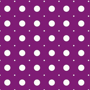 Beige circles of different sizes over purple background seamless pattern