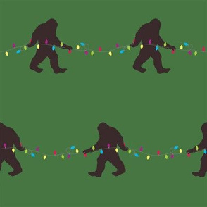 Bigfoot Christmas Lights Green Background Pattern