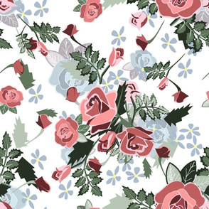 Roses Chintz blue roses yellow