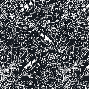 Black and White Folk Floral