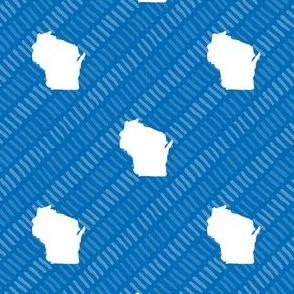 Wisconsin State Shape Pattern Blue and White Stripes
