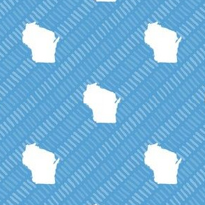 Wisconsin State Shape Pattern Light Blue and White Stripes