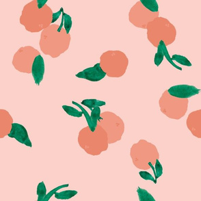 LARGE PEACH PINK CLEMENTINES ON ROSE