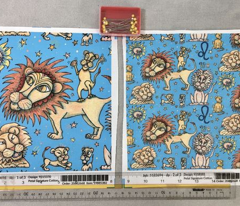 Leo the lion zodiac astrology sun sign, small scale, blue yellow orange