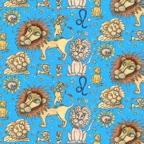 Leo the lion zodiac astrology sun sign, small scale, blue yellow orange