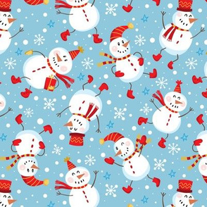 Festive Snowmen Scatter-Blue Red