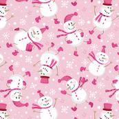 Festive Snowmen Scatter-Pink