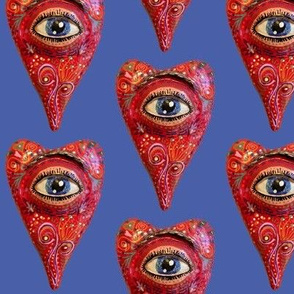 folk art heart with eye, blue red