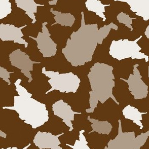 West Virginia State Outline Brown and White