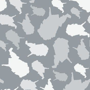 West Virginia State Outline Grey and White