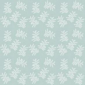 Delicate Fern Pale Vintage Blue Green Grey