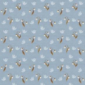 Feathery Fern Pale Blue Grey Linen