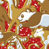 Gingerbread Animal Parade | Large | Red