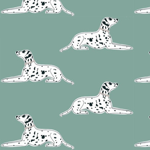"resting dalmatians on robins eggs blue - 8"" square"