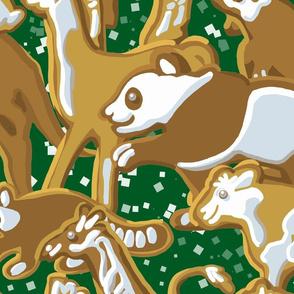 Gingerbread Animal Parade   Large   Green