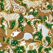 Gingerbread Animal Parade   Green