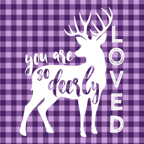 "(27""x36"" panel) you are so deerly loved panel - purple plaid C19BS"