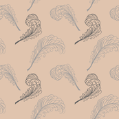 feathers in grey