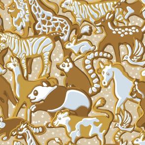 Gingerbread Animal Parade   Warm Cream