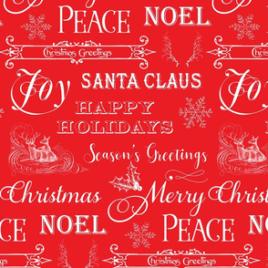 Christmas Typography, Christmas Greetings, Christmas Sayings on Red