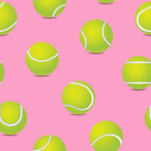 FS Tossed Tennis Balls on Flamingo Pink