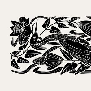 Heron on the Hunt- Tea Towel