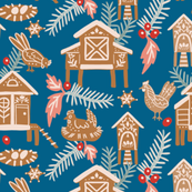 Gingerbread chicken coops, blue