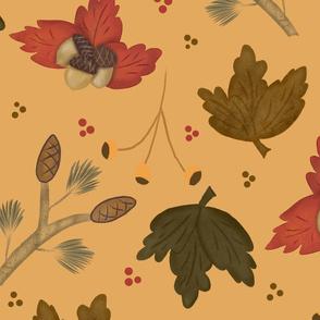 fall acorns and pinecones orange