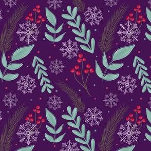 Christmas retro foliage purple